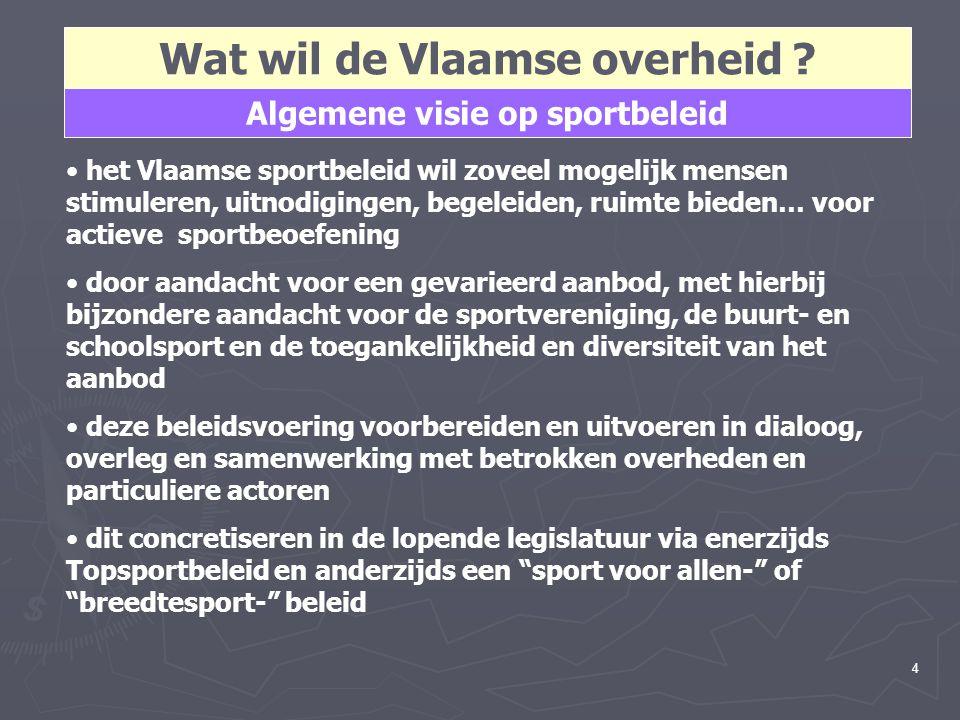 5 In een Vlaams Sport voor Allen beleid spelen de gemeente- en provinciebesturen een cruciale rol het Vlaamse sportbeleid wil met deze besturen een gedeelde verantwoordelijkheid opnemen het nieuwe decreet zal daarom alle gemeenten, provincies en de VGC voor deze samenwerking uitnodigen daarvoor engageer ik mij voor een performante, effectieve regelgeving en voor de substantiële verhoging van de begroting voor dit decreet het decreet & uitvoeringsbesluiten zullen eenvoudig, licht en voorspelbaar worden, met een minimum aan administratieve regels en een dynamisch ambtelijk toezicht Wat wil de Vlaamse overheid.