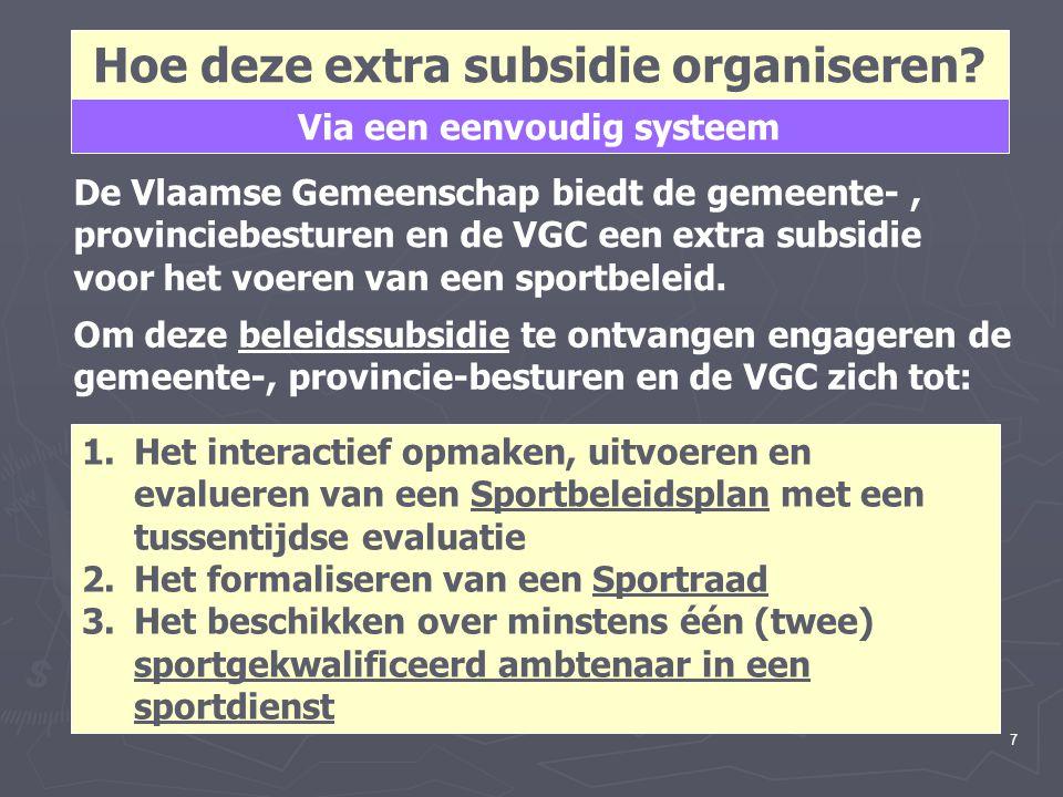 7 Hoe deze extra subsidie organiseren? De Vlaamse Gemeenschap biedt de gemeente-, provinciebesturen en de VGC een extra subsidie voor het voeren van e