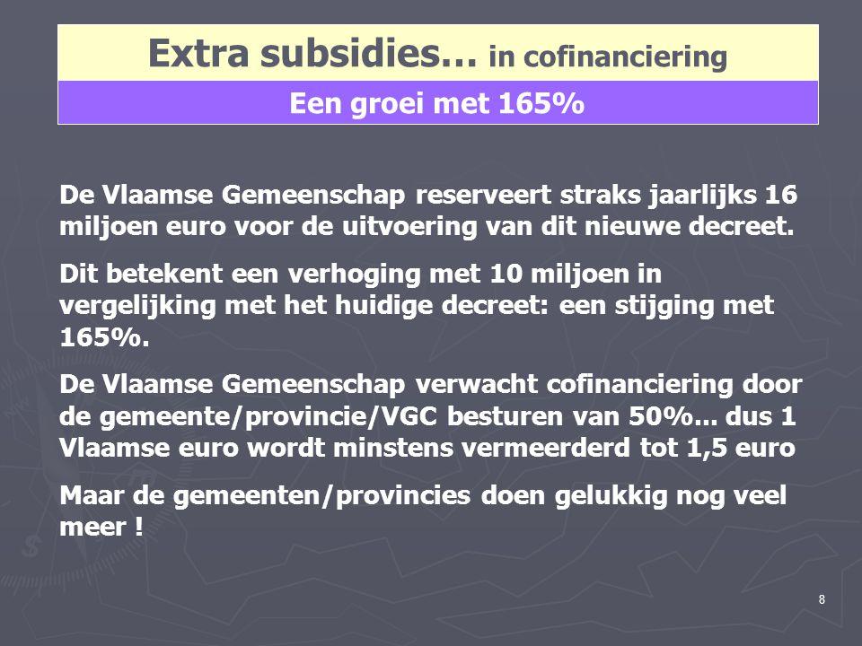 8 Extra subsidies… in cofinanciering Een groei met 165% De Vlaamse Gemeenschap reserveert straks jaarlijks 16 miljoen euro voor de uitvoering van dit