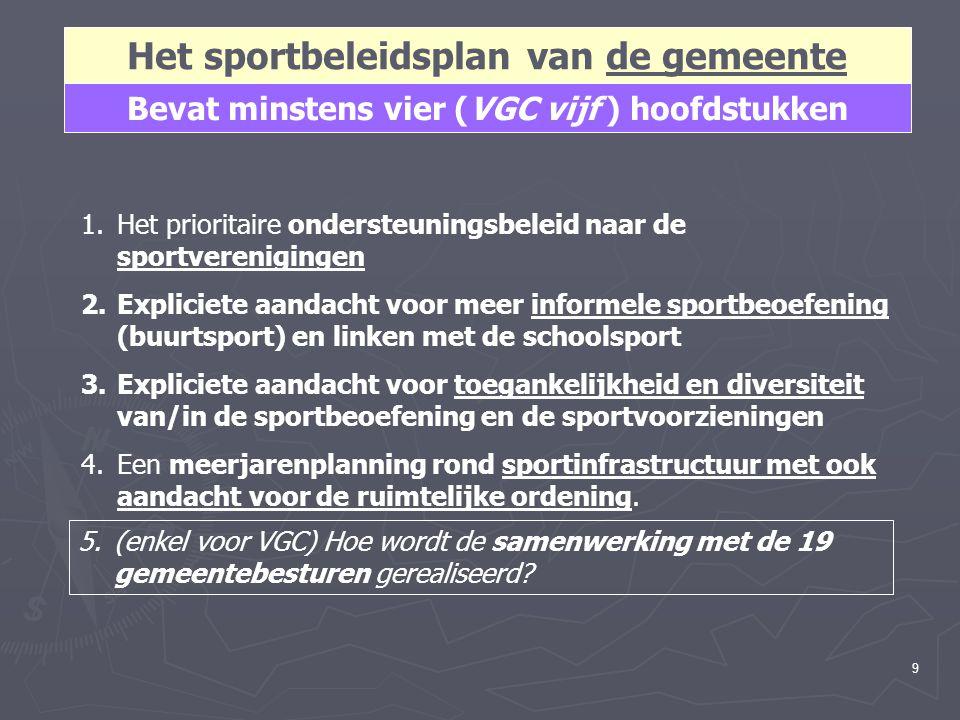 9 Het sportbeleidsplan van de gemeente Bevat minstens vier (VGC vijf ) hoofdstukken 1.Het prioritaire ondersteuningsbeleid naar de sportverenigingen 2