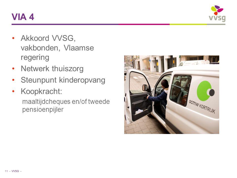VVSG - Akkoord VVSG, vakbonden, Vlaamse regering Netwerk thuiszorg Steunpunt kinderopvang Koopkracht: maaltijdcheques en/of tweede pensioenpijler VIA 4 11 -