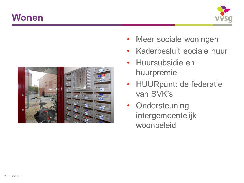 VVSG - Meer sociale woningen Kaderbesluit sociale huur Huursubsidie en huurpremie HUURpunt: de federatie van SVK's Ondersteuning intergemeentelijk woonbeleid Wonen 12 -