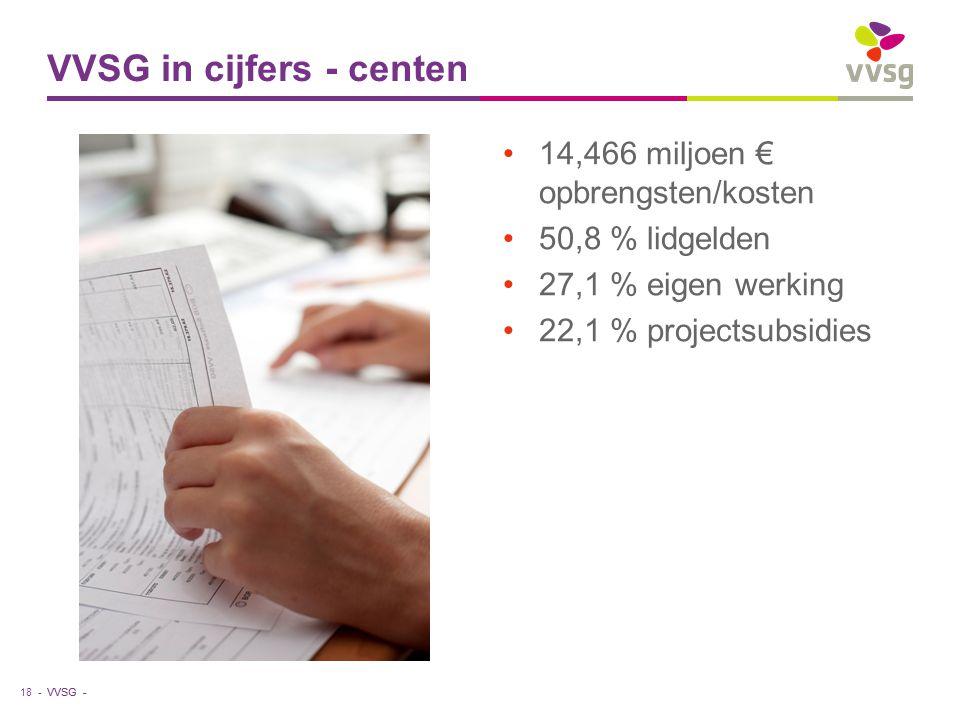 VVSG - 14,466 miljoen € opbrengsten/kosten 50,8 % lidgelden 27,1 % eigen werking 22,1 % projectsubsidies VVSG in cijfers - centen 18 -