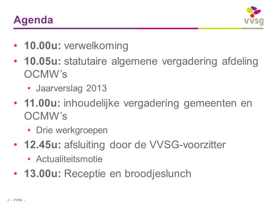VVSG - Agenda 10.00u: verwelkoming 10.05u: statutaire algemene vergadering afdeling OCMW's Jaarverslag 2013 11.00u: inhoudelijke vergadering gemeenten en OCMW's Drie werkgroepen 12.45u: afsluiting door de VVSG-voorzitter Actualiteitsmotie 13.00u: Receptie en broodjeslunch 2 -
