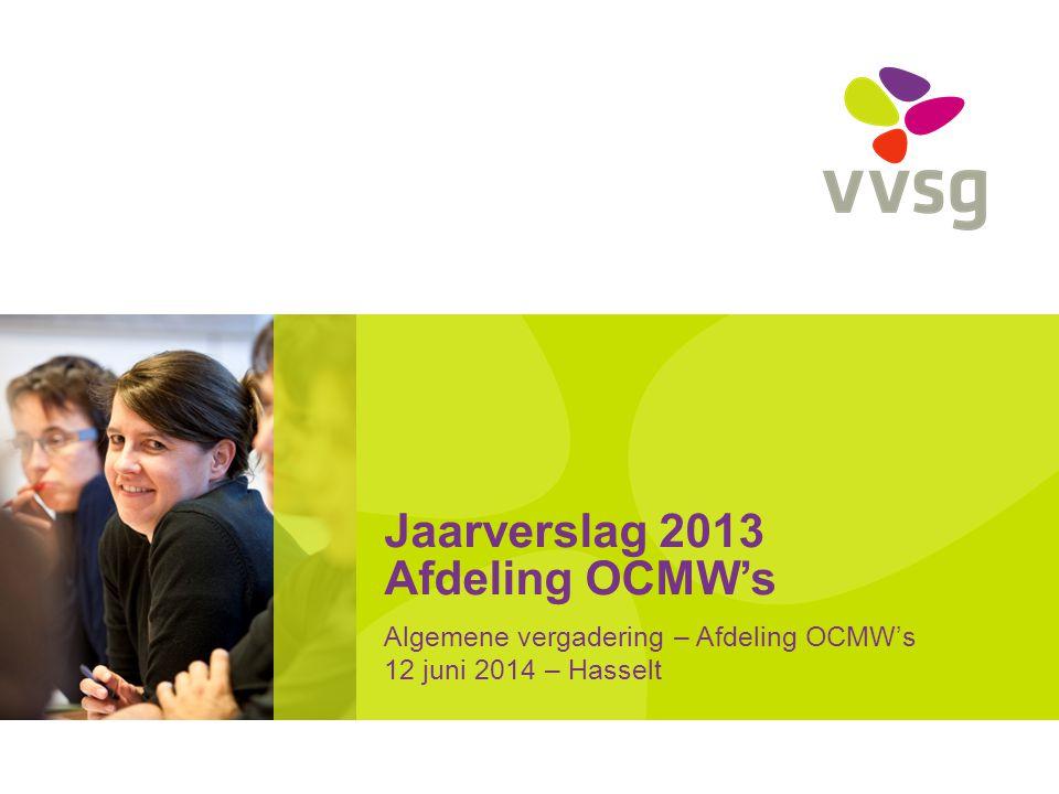 Jaarverslag 2013 Afdeling OCMW's Algemene vergadering – Afdeling OCMW's 12 juni 2014 – Hasselt