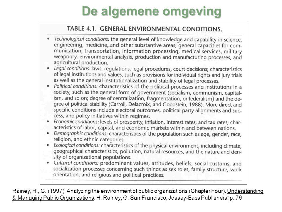 De algemene omgeving Rainey, H., G. (1997). Analyzing the environment of public organizations (Chapter Four). Understanding & Managing Public Organiza