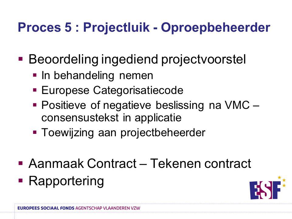 Proces 5 : Projectluik - Oproepbeheerder  Beoordeling ingediend projectvoorstel  In behandeling nemen  Europese Categorisatiecode  Positieve of negatieve beslissing na VMC – consensustekst in applicatie  Toewijzing aan projectbeheerder  Aanmaak Contract – Tekenen contract  Rapportering