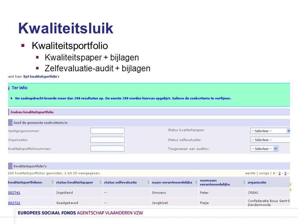 Kwaliteitsluik  Kwaliteitsportfolio  Kwaliteitspaper + bijlagen  Zelfevaluatie-audit + bijlagen