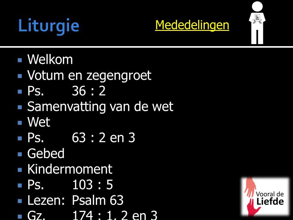 Mededelingen  Welkom  Votum en zegengroet  Ps. 36 : 2  Samenvatting van de wet  Wet  Ps.63 : 2 en 3  Gebed  Kindermoment  Ps. 103 : 5  Lezen