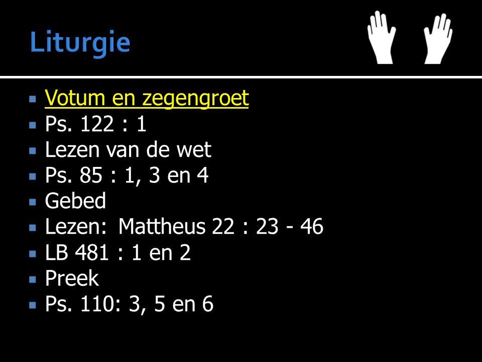  Votum en zegengroet  Ps. 122 : 1  Lezen van de wet  Ps. 85 : 1, 3 en 4  Gebed  Lezen:Mattheus 22 : 23 - 46  LB 481 : 1 en 2  Preek  Ps. 110:
