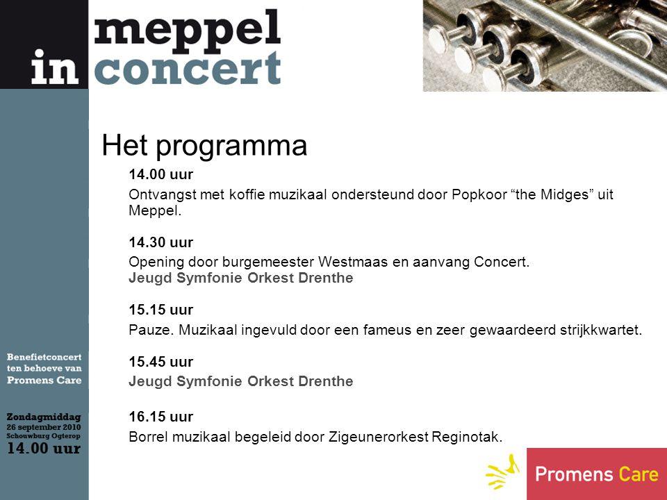 Het programma 14.00 uur Ontvangst met koffie muzikaal ondersteund door Popkoor the Midges uit Meppel.