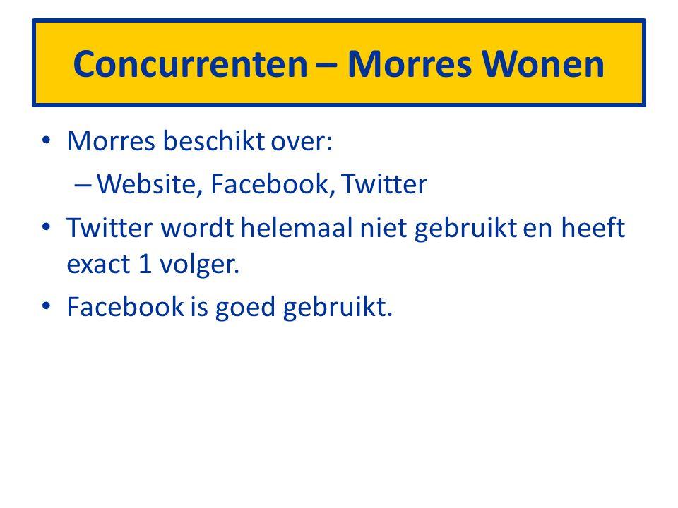 Concurrenten – Morres Wonen Morres beschikt over: – Website, Facebook, Twitter Twitter wordt helemaal niet gebruikt en heeft exact 1 volger.