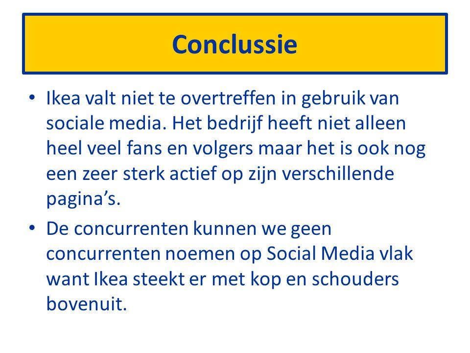 Conclussie Ikea valt niet te overtreffen in gebruik van sociale media.