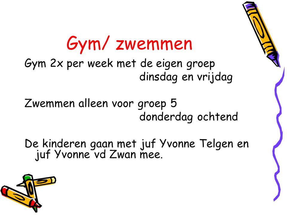 Gym/ zwemmen Gym 2x per week met de eigen groep dinsdag en vrijdag Zwemmen alleen voor groep 5 donderdag ochtend De kinderen gaan met juf Yvonne Telge