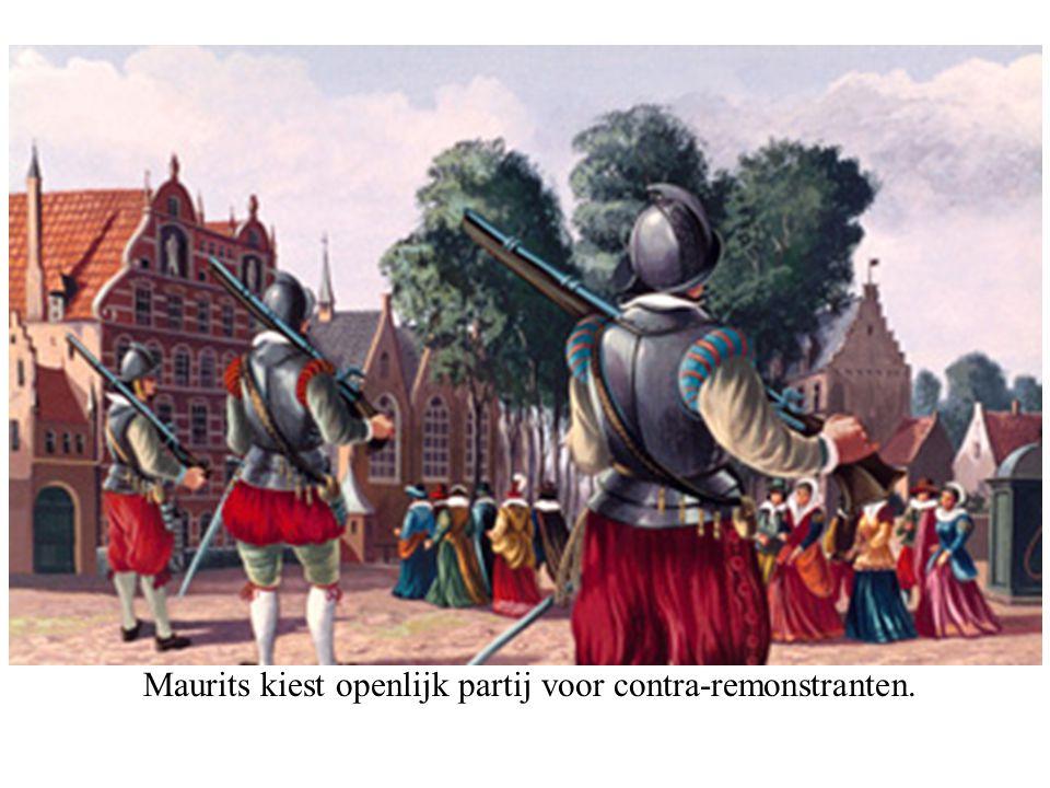 Maurits kiest openlijk partij voor contra-remonstranten.