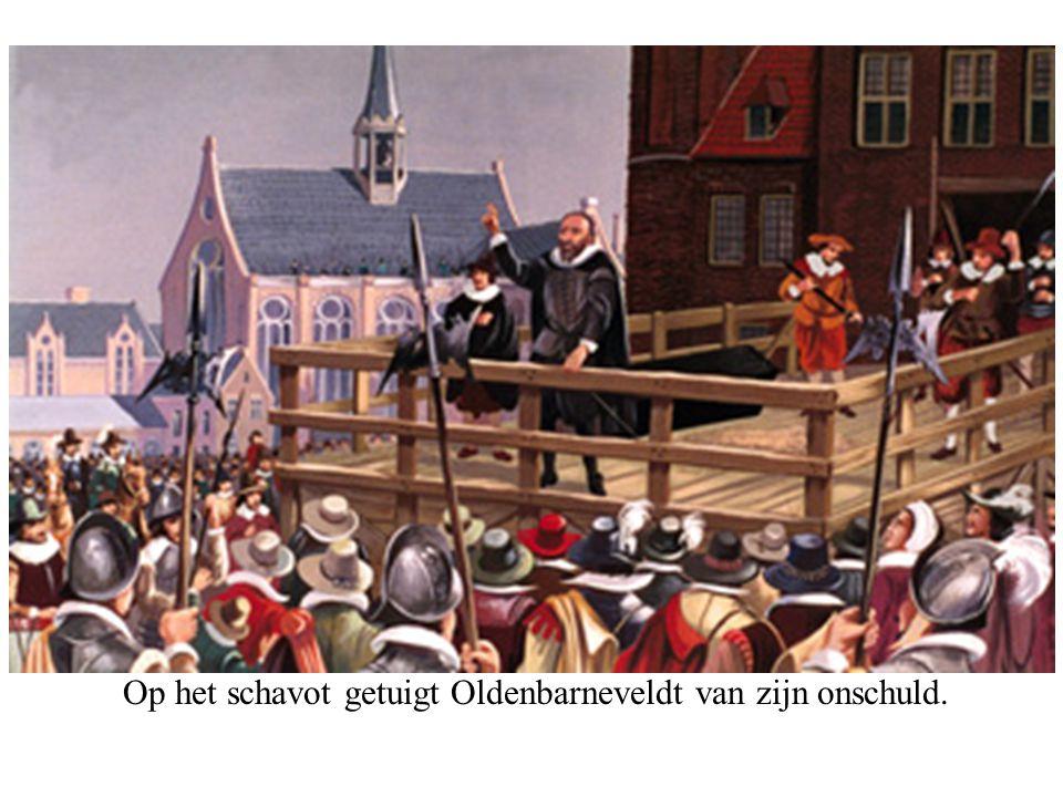 Op het schavot getuigt Oldenbarneveldt van zijn onschuld.
