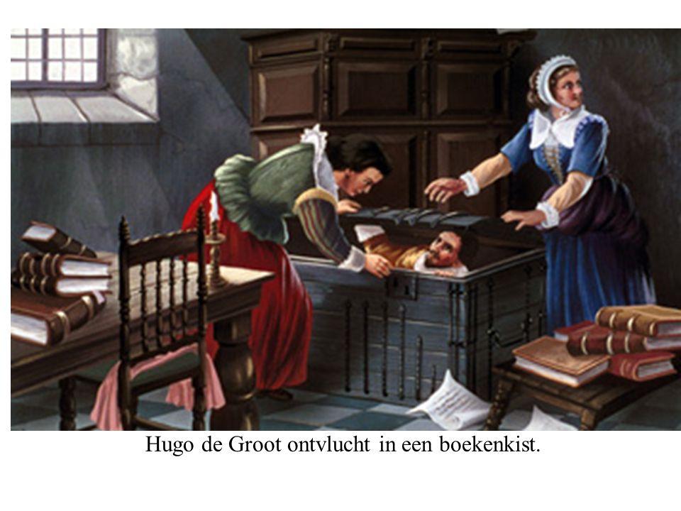 Hugo de Groot ontvlucht in een boekenkist.