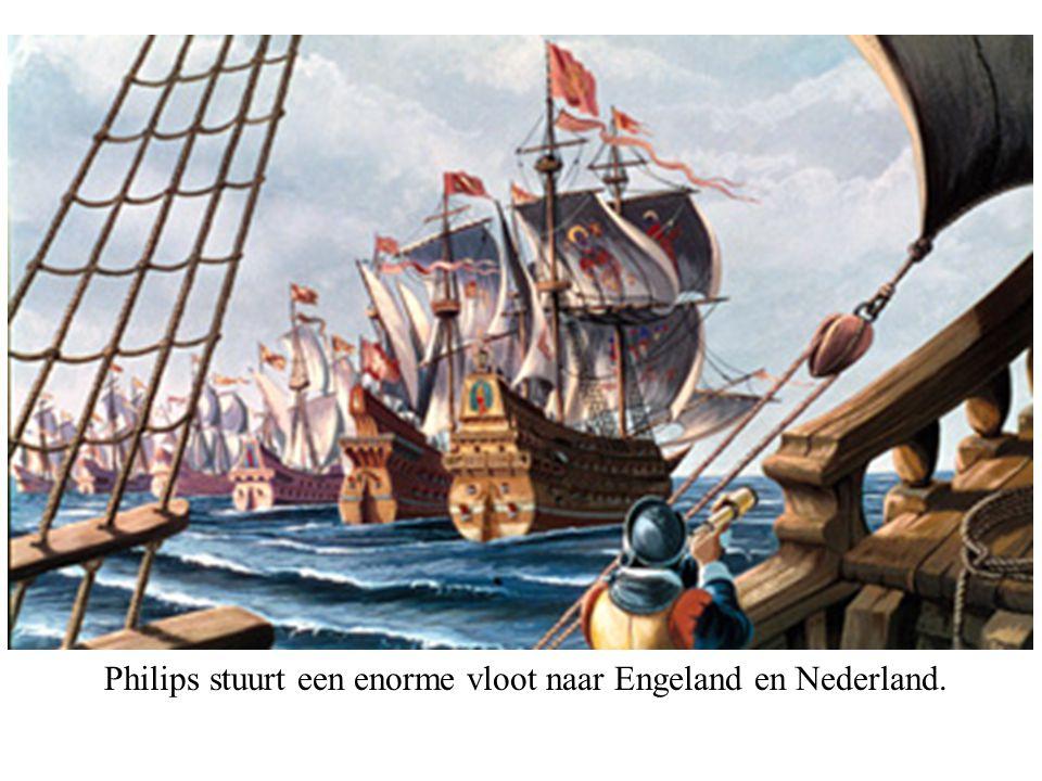 Philips stuurt een enorme vloot naar Engeland en Nederland.