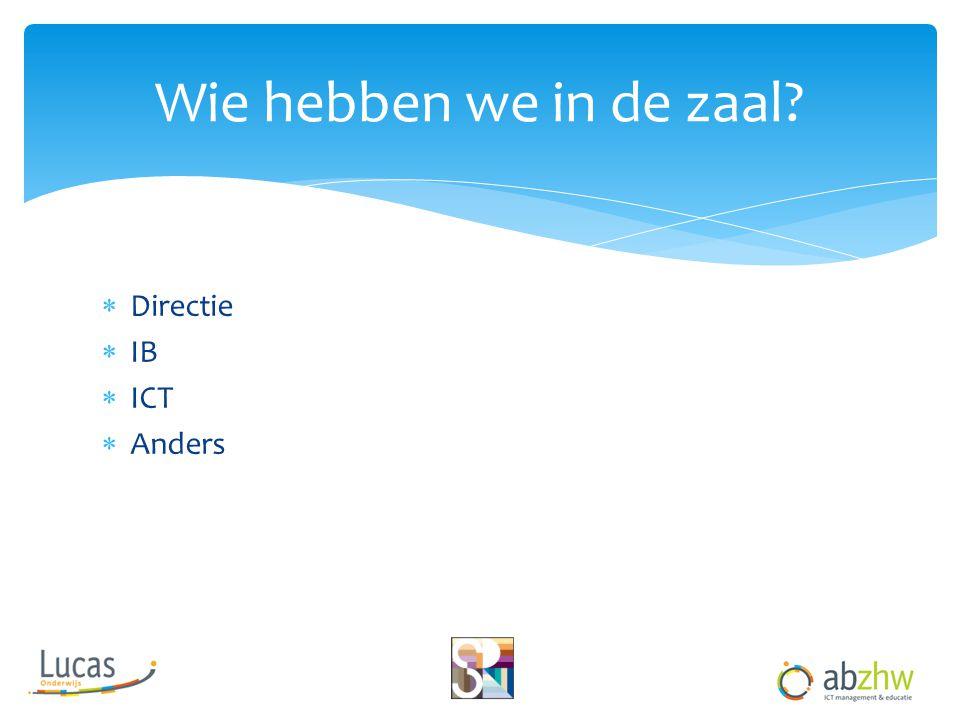  Directie  IB  ICT  Anders Wie hebben we in de zaal?