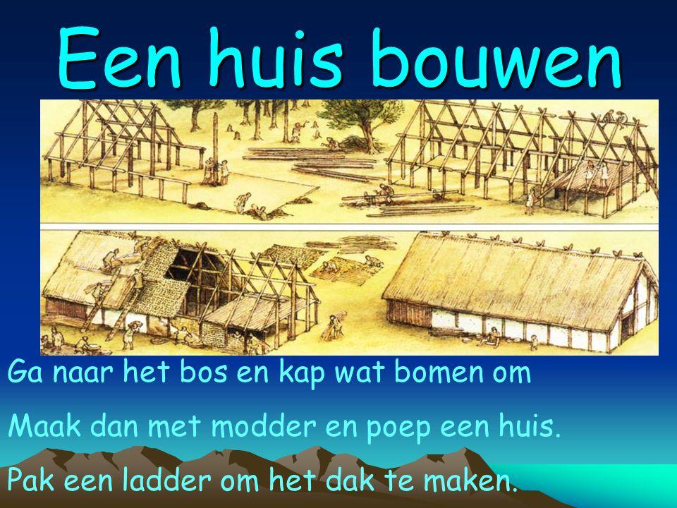 Een huis bouwen Ga naar het bos en kap wat bomen om Maak dan met modder en poep een huis.