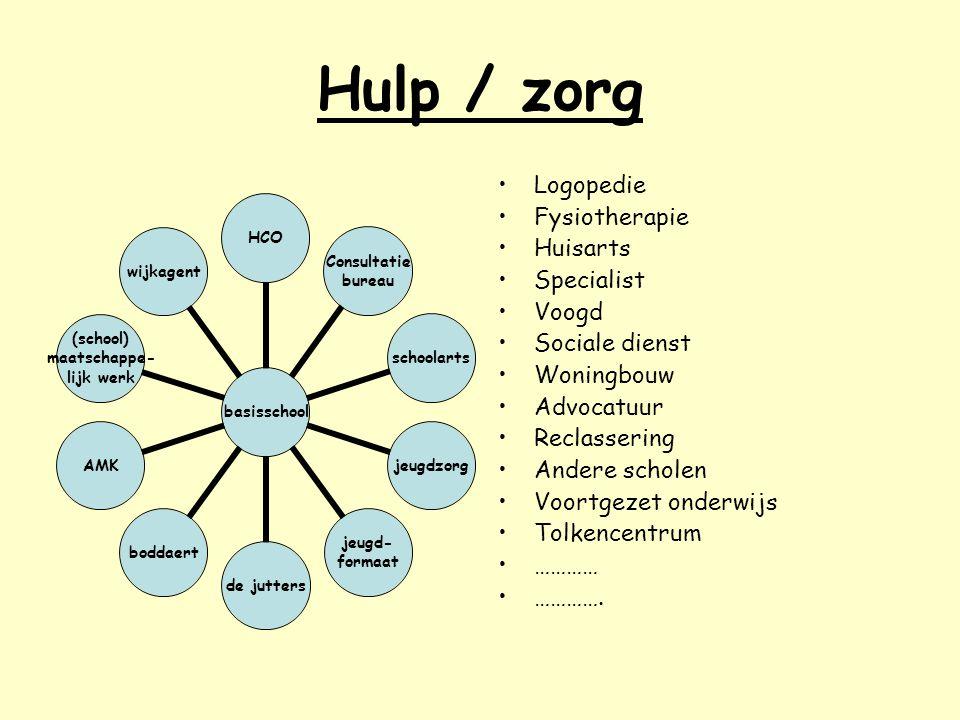 Hulp / zorg basisschool HCO Consultatie bureau schoolartsjeugdzorg jeugd- formaat de juttersboddaertAMK (school) maatschappe- lijk werk wijkagent Logo