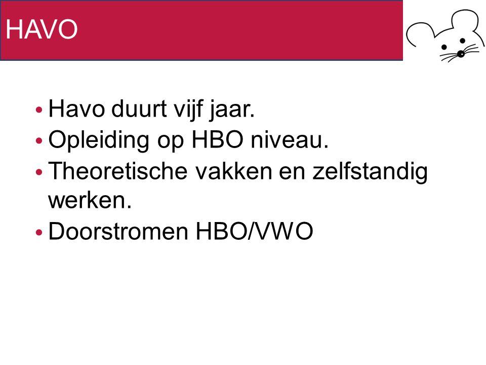 HAVO Havo duurt vijf jaar. Opleiding op HBO niveau. Theoretische vakken en zelfstandig werken. Doorstromen HBO/VWO