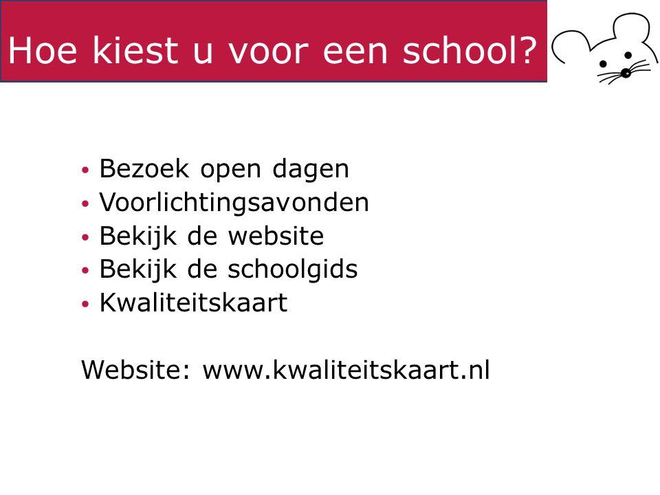 Hoe kiest u voor een school? Bezoek open dagen Voorlichtingsavonden Bekijk de website Bekijk de schoolgids Kwaliteitskaart Website: www.kwaliteitskaar