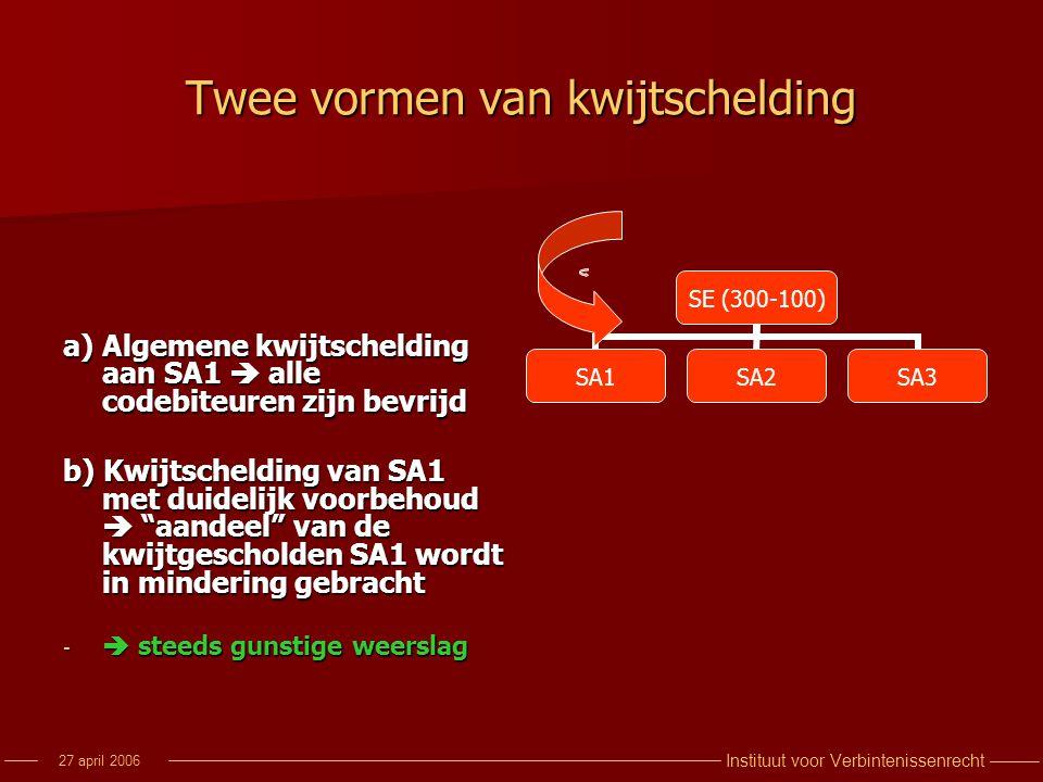 Instituut voor Verbintenissenrecht 27 april 2006 Twee vormen van kwijtschelding a) Algemene kwijtschelding aan SA1  alle codebiteuren zijn bevrijd b)