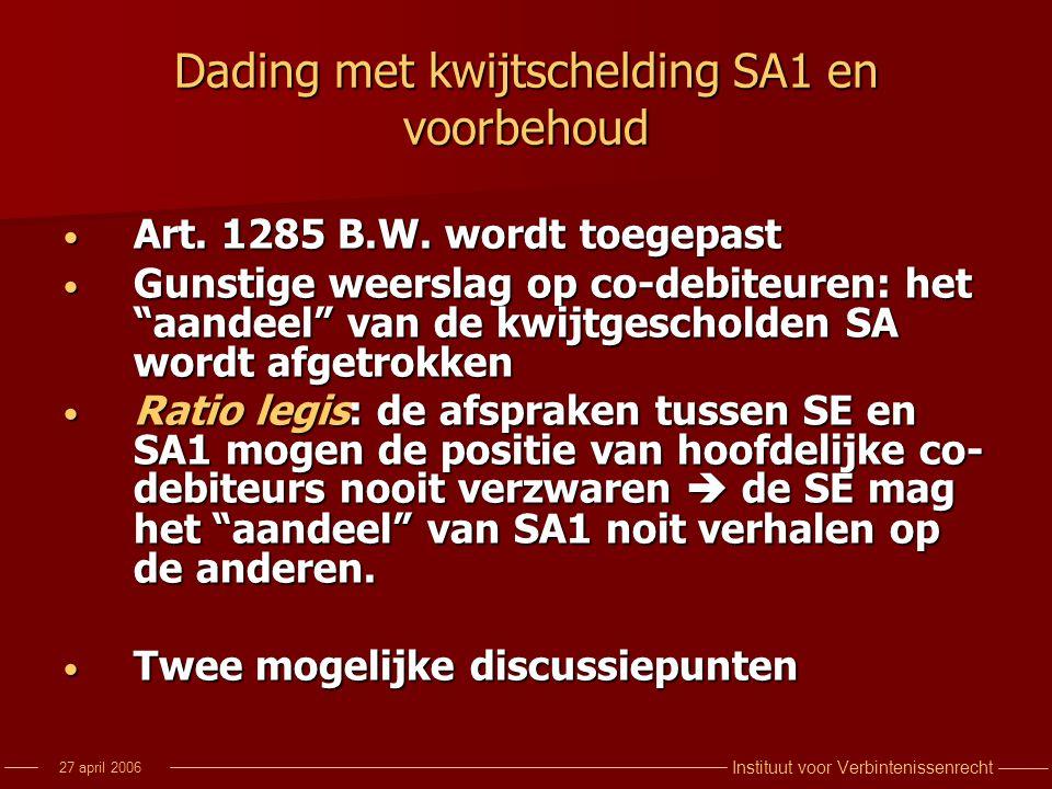 Instituut voor Verbintenissenrecht 27 april 2006 Dading met kwijtschelding SA1 en voorbehoud Art. 1285 B.W. wordt toegepast Art. 1285 B.W. wordt toege