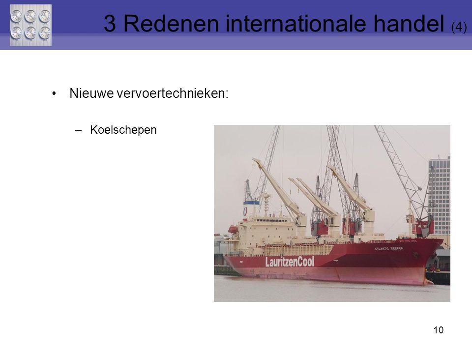 Nieuwe vervoertechnieken: –Koelschepen 10 3 Redenen internationale handel (4)
