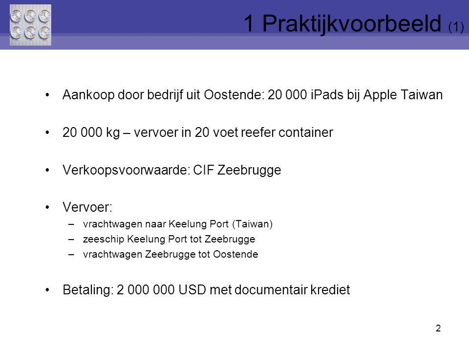 Aankoop door bedrijf uit Oostende: 20 000 iPads bij Apple Taiwan 20 000 kg – vervoer in 20 voet reefer container Verkoopsvoorwaarde: CIF Zeebrugge Vervoer: –vrachtwagen naar Keelung Port (Taiwan) –zeeschip Keelung Port tot Zeebrugge –vrachtwagen Zeebrugge tot Oostende Betaling: 2 000 000 USD met documentair krediet 2 1 Praktijkvoorbeeld (1)