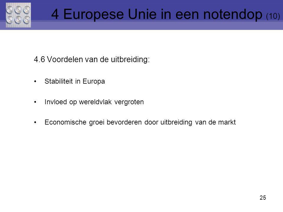 4.6 Voordelen van de uitbreiding: Stabiliteit in Europa Invloed op wereldvlak vergroten Economische groei bevorderen door uitbreiding van de markt 25 4 Europese Unie in een notendop (10)