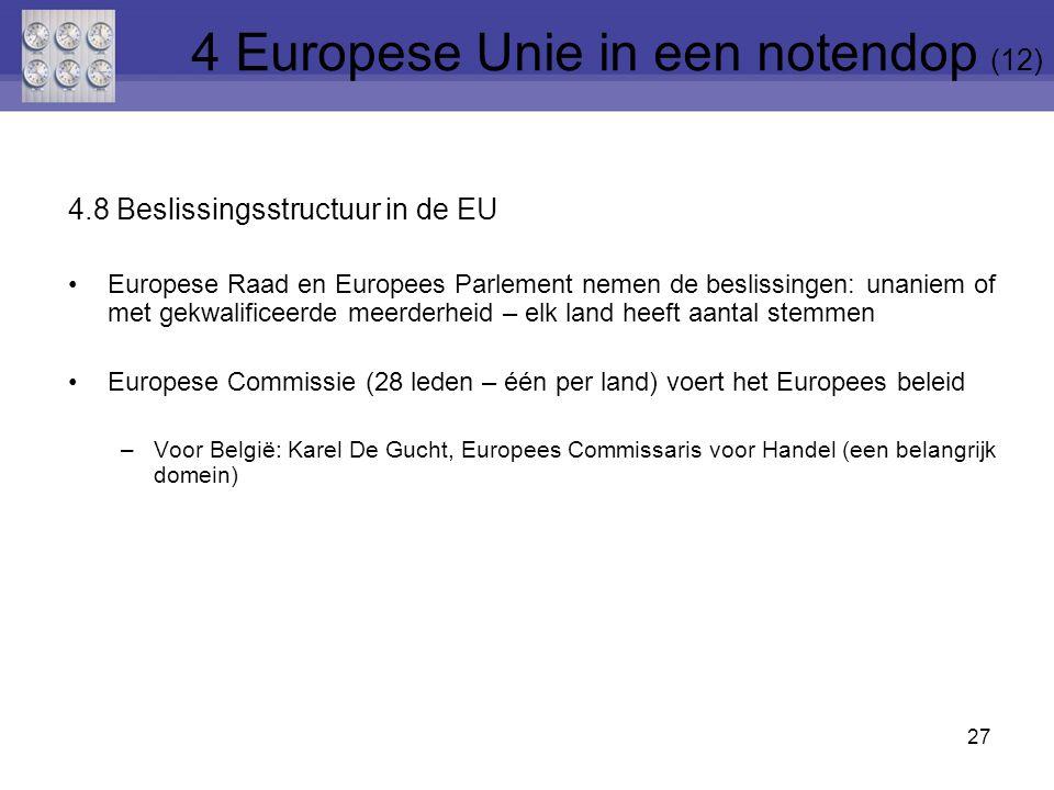 4.8 Beslissingsstructuur in de EU Europese Raad en Europees Parlement nemen de beslissingen: unaniem of met gekwalificeerde meerderheid – elk land heeft aantal stemmen Europese Commissie (28 leden – één per land) voert het Europees beleid –Voor België: Karel De Gucht, Europees Commissaris voor Handel (een belangrijk domein) 27 4 Europese Unie in een notendop (12)
