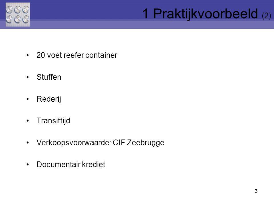 20 voet reefer container Stuffen Rederij Transittijd Verkoopsvoorwaarde: CIF Zeebrugge Documentair krediet 3 1 Praktijkvoorbeeld (2)