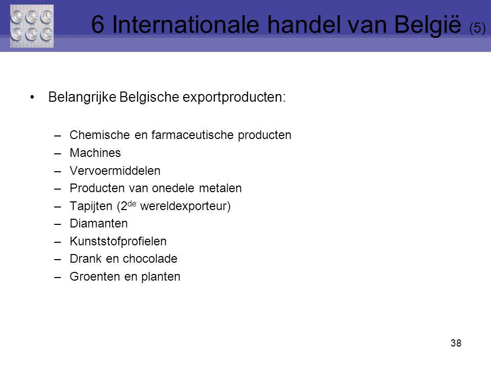Belangrijke Belgische exportproducten: –Chemische en farmaceutische producten –Machines –Vervoermiddelen –Producten van onedele metalen –Tapijten (2 de wereldexporteur) –Diamanten –Kunststofprofielen –Drank en chocolade –Groenten en planten 38 6 Internationale handel van België (5)