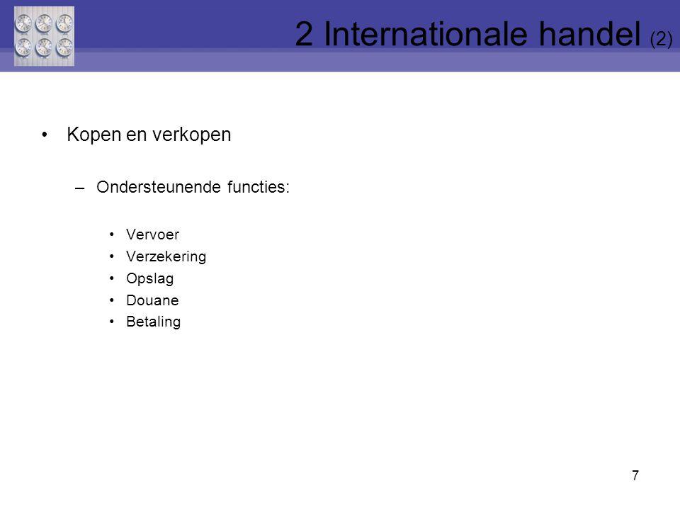 Kopen en verkopen –Ondersteunende functies: Vervoer Verzekering Opslag Douane Betaling 7 2 Internationale handel (2)