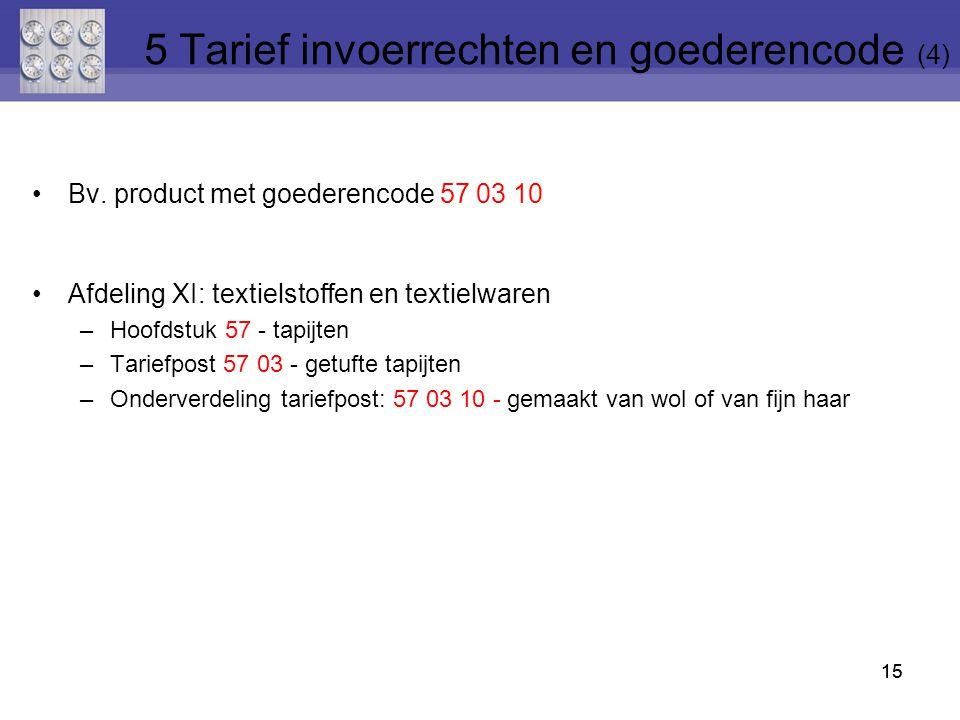 15 Bv. product met goederencode 57 03 10 Afdeling XI: textielstoffen en textielwaren –Hoofdstuk 57 - tapijten –Tariefpost 57 03 - getufte tapijten –On