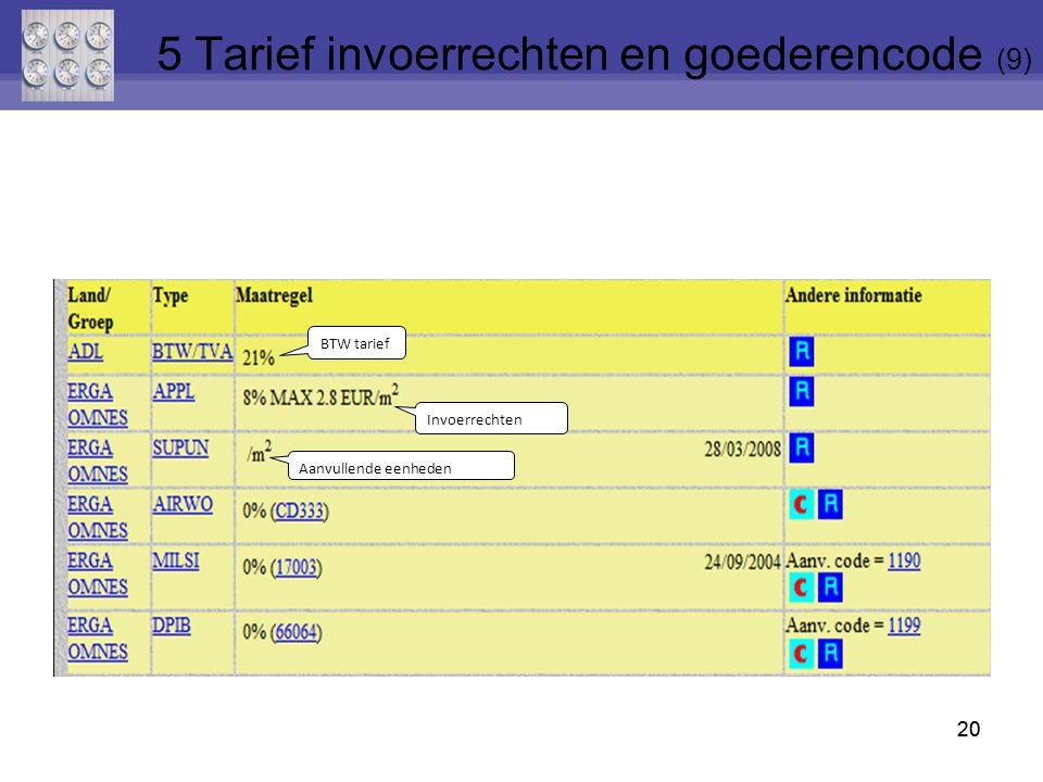 20 BTW tarief Invoerrechten Aanvullende eenheden 5 Tarief invoerrechten en goederencode (9)