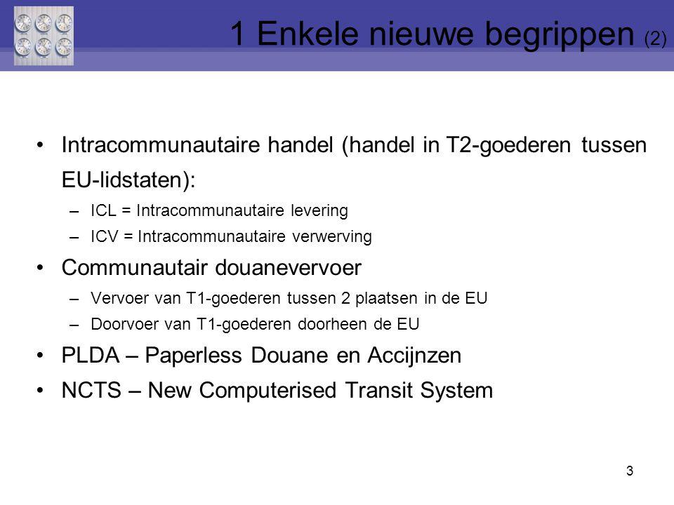 Intracommunautaire handel (handel in T2-goederen tussen EU-lidstaten): –ICL = Intracommunautaire levering –ICV = Intracommunautaire verwerving Communa