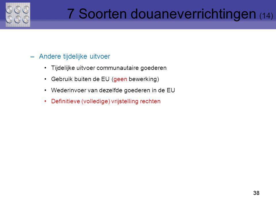 38 –Andere tijdelijke uitvoer Tijdelijke uitvoer communautaire goederen Gebruik buiten de EU (geen bewerking) Wederinvoer van dezelfde goederen in de
