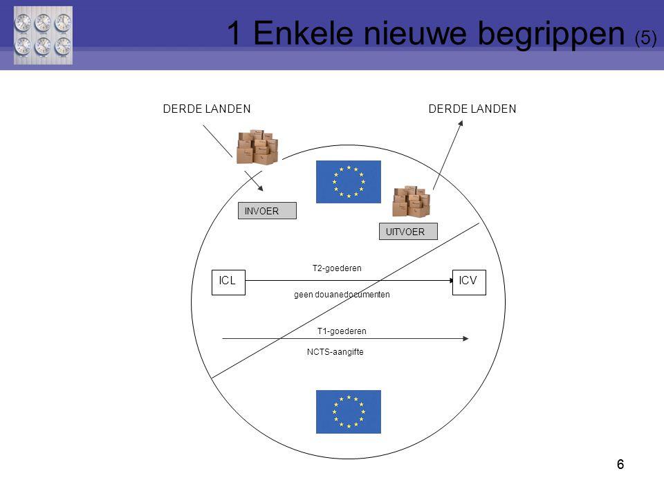 6 ICLICV UITVOER INVOER T2-goederen T1-goederen NCTS-aangifte geen douanedocumenten DERDE LANDEN 6 1 Enkele nieuwe begrippen (5)