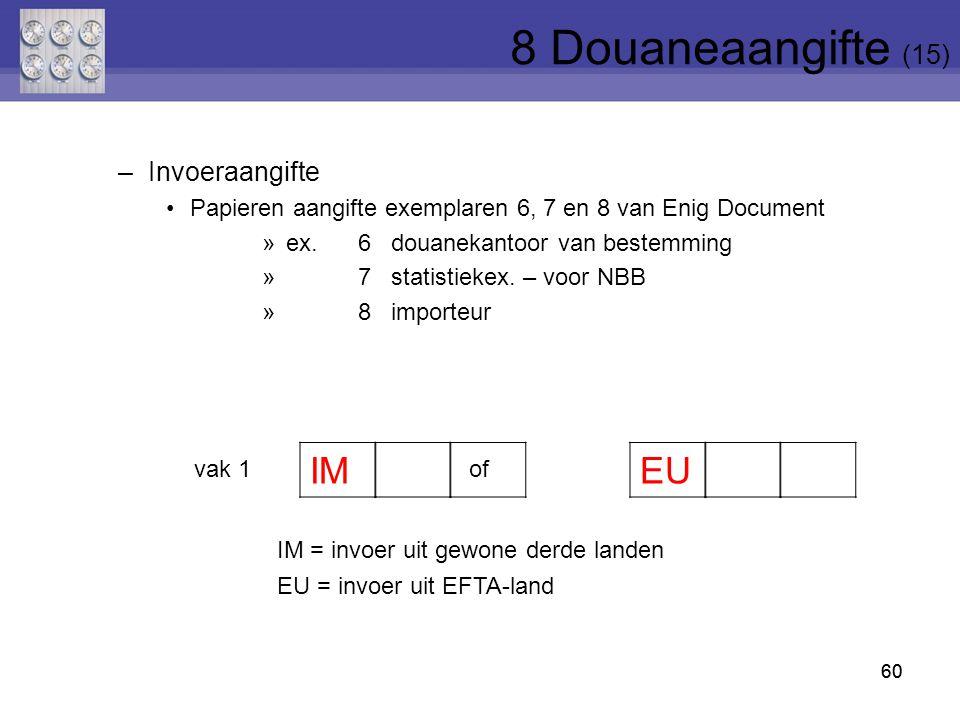 60 vak 1of IM = invoer uit gewone derde landen EU = invoer uit EFTA-land IM EU –Invoeraangifte Papieren aangifte exemplaren 6, 7 en 8 van Enig Documen