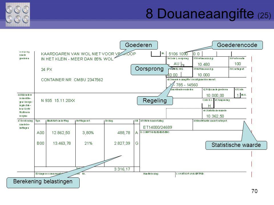 70 Goederen Goederencode Regeling Oorsprong Statistische waarde Berekening belastingen 8 Douaneaangifte (25)