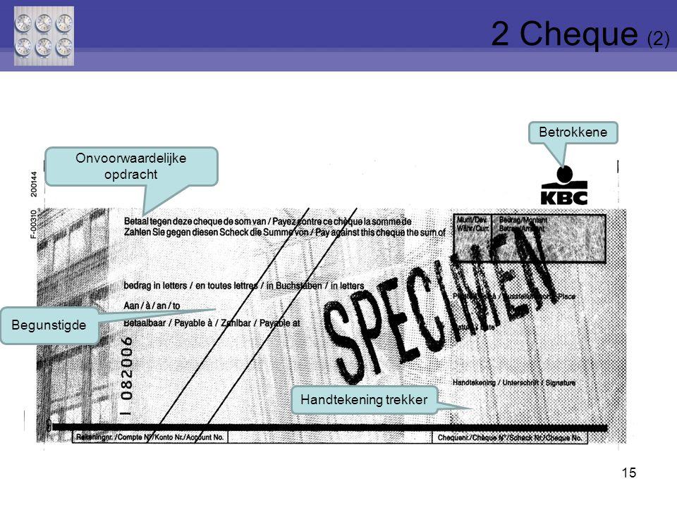 15 Onvoorwaardelijke opdracht Betrokkene Handtekening trekker Begunstigde 2 Cheque (2)