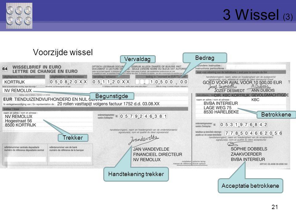Voorzijde wissel 21 Trekker Betrokkene Bedrag Handtekening trekker Acceptatie betrokkene Begunstigde Vervaldag 3 Wissel (3)