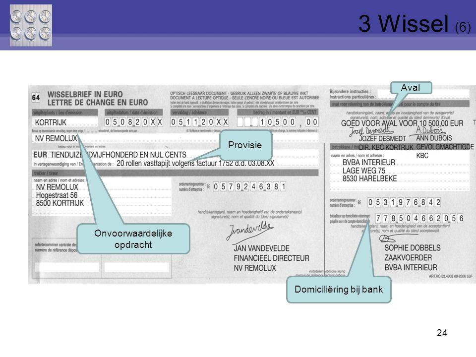 24 Aval Domiciliëring bij bank Provisie Onvoorwaardelijke opdracht 3 Wissel (6)