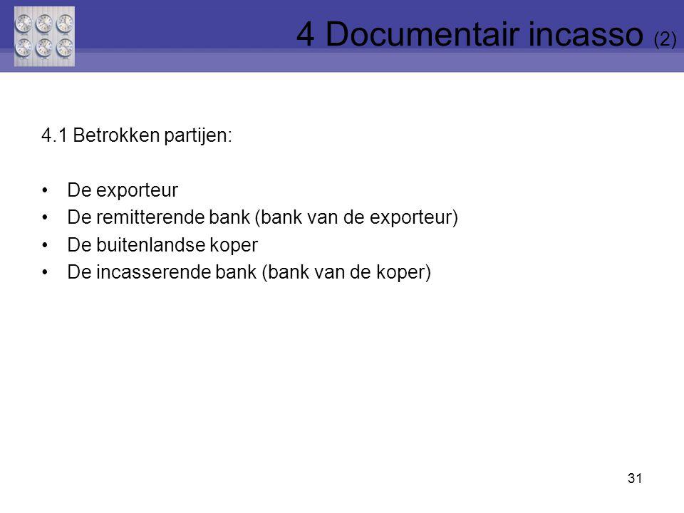 4.1 Betrokken partijen: De exporteur De remitterende bank (bank van de exporteur) De buitenlandse koper De incasserende bank (bank van de koper) 31 4 Documentair incasso (2)