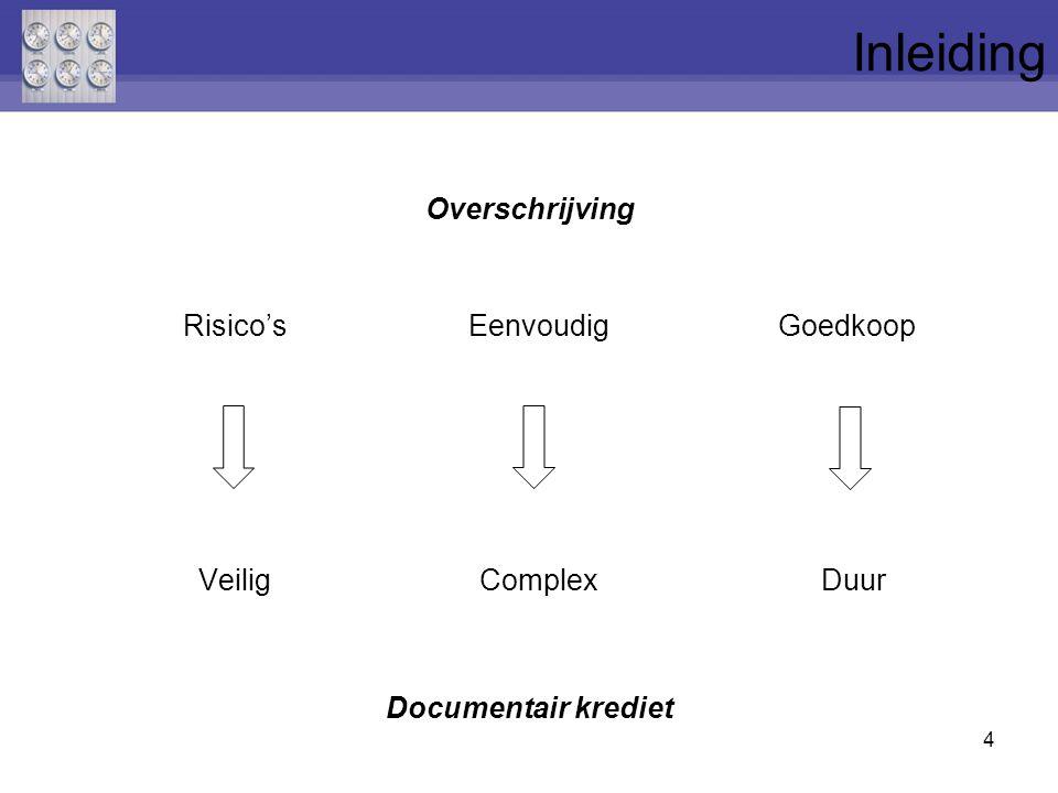 Overschrijving Risico's EenvoudigGoedkoop Veilig Complex Duur Documentair krediet 4 Inleiding