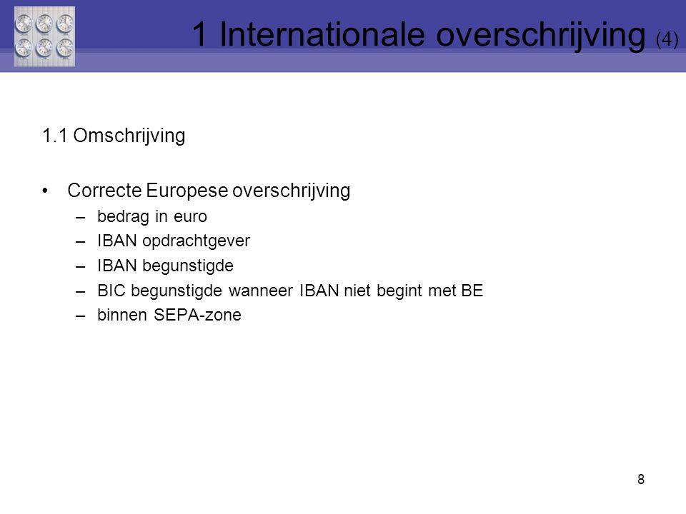 1.1 Omschrijving Correcte Europese overschrijving –bedrag in euro –IBAN opdrachtgever –IBAN begunstigde –BIC begunstigde wanneer IBAN niet begint met