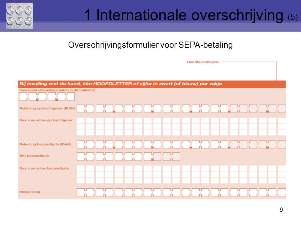 1.1 Omschrijving Internationale overschrijving –in euro naar land buiten SEPA-zone –in andere munt dan euro (alle landen) Belangrijk: ISO-muntcode vb.